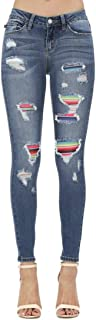 Serape Patch Skinny Jeans (Style: 8424)