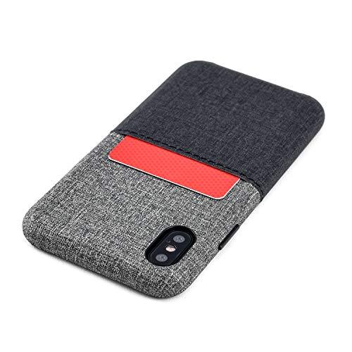 Dockem Luxe M1 Funda Cartera para iPhone XS y iPhone X: Funda Tarjetero Slim con Placa de Metal Integrada para Soporte Magnético: Serie M [Negro y Gris]