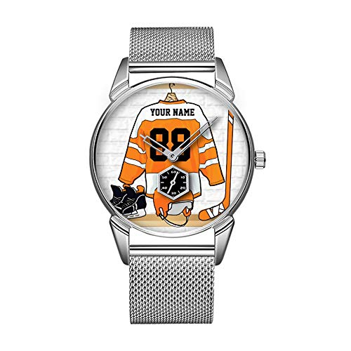 Mode wasserdicht Uhr minimalistischen Persönlichkeit Muster Uhr -654. personalisiertes orangefarbenes und weißes Eishockey-Trikot