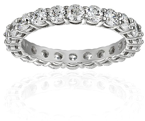 PlatinumPlated Sterling Silver AllAround Band Ring set with Round Swarovski Zirconia 2 cttw Size 7