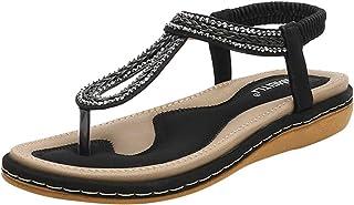 Women Summer Flip Flop Women Rhinestone Shoes Bohemian Flat Sandals Clip Toe Sandals Beach Shoes - Size 36 (Black)