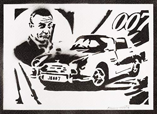 Poster James Bond 007 Sean Connery Handmade Graffiti Street Art - Artwork