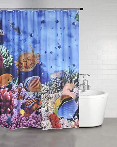 Sanilo Duschvorhang Ocean 180 x 200 cm, hochwertige Qualität, 100prozent Polyester, wasserdicht, Anti-Schimmel-Effekt, inkl. 12 Duschvorhangringe