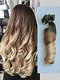 Paquete de 6 extensiones de pelo con pinza para toda la cabeza, cabello ondulado y degradado, 56 cm