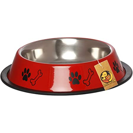 Foodie Puppies Stainless Steel Paw Bone Print Food and Water Feeding Bowl for Dogs & Pets - (Red, Medium, 700ml)