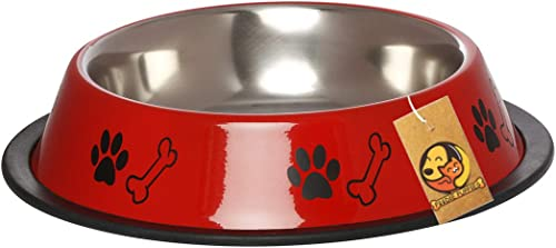 Foodie Puppies Stainless Steel Paw Bone Print Food and Water Feeding Bowl for Dogs & Pets - (Red, Medium, 900ml)