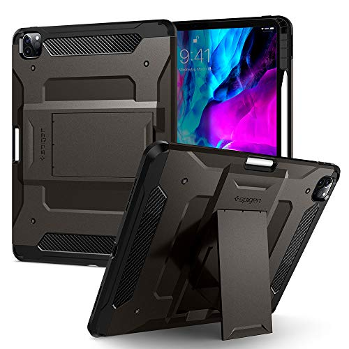 Spigen Tough Armor Pro Designed for iPad Pro 12.9 Case 2020 & 2018 with Pencil Holder - Gunmetal