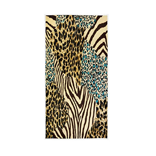 F17 Toalla vintage retro leopardo estampado animal patrón 30 x 15 pulgadas toalla de mano para el hogar, cocina, baño, gimnasio, natación, spa