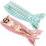 SPERPAND 2 Pack Inflatable Mermaid Tail Pool Float, Swimming Pool Floats Mermaid Tail Floatie Lounge Raft, Summer Beach Party Toy (Blue & Pink)