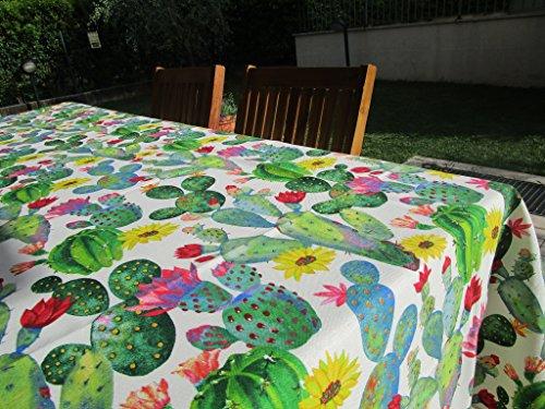 Pago peu nouveau. Collection printemps - été 2019-2020. Nappe ronde de 180 cm. Motif cactus en coton, fabriqué en Italie.