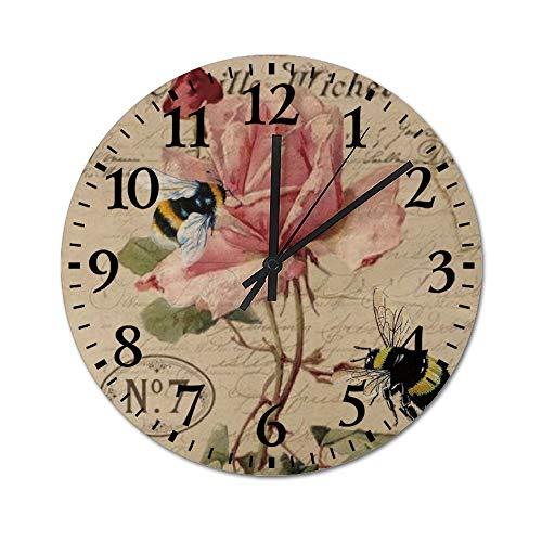 TattyaKoushi Fashion Wooden Wall Clocks Home Decor Rose and Bee Silent