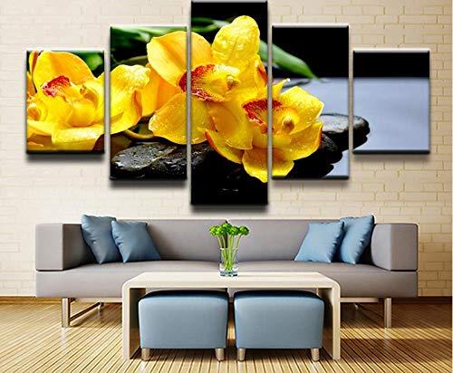 RuiYa Wall Art 50x25 CM 5 Rahmen Dekorative Malerei Blume Orchidee Quellstein Wasser gelbe Blume Zen Leinwand HD Drucke Bilder Moderne Wand Kunst Rahmen 5 Stück Poster Hause decor