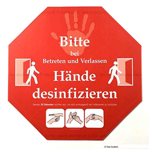 Schild BITTE HÄNDE DESINFIZIEREN | Infektionsschutz | Handhygiene 30x30cm