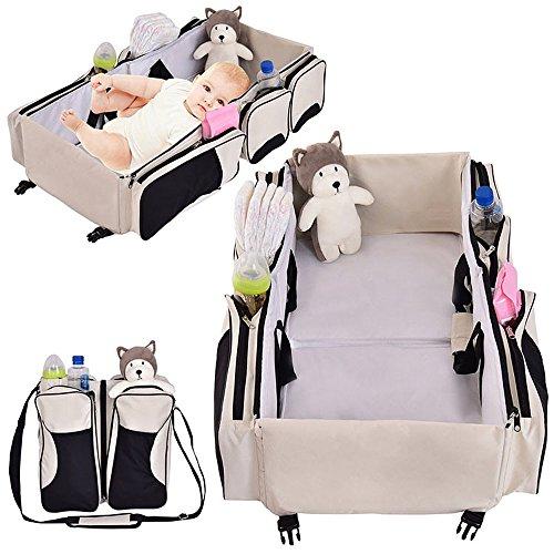 Jeval3 in 1 Baby Diaper Bag Traveling Crib & Portable Baby Diaper Bag Messenger Bag Mummy Foldable Outdoor Baby Crib Casual/Babyhug Zippy Playpen/Bassinet/Infant Travel Bed