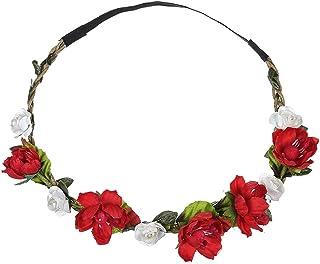 Dorical Stirnband Blumen, 1 Stück Stirnbänder Krone Haarband Kopfband Blume Haarbänder mit Elastischem Band für Hochzeit und Party Haarbänder Band für Frauen Mädchen