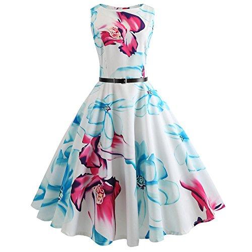YWLINK Damen Rockabilly O-Ausschnitt Lebhaft Faltenrock Blume Drucken Kleiden Prom Swing Ärmellos...