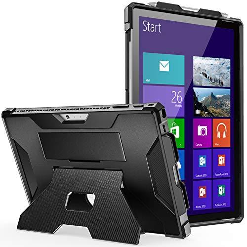 MoKo Hülle Kompatibel mit Microsoft Surface Pro 7 Plus/7/6/5/4/LTE, Stoßfeste Vollständige Schutzhülle Hülle mit Handschlaufe & Ständer für Pro 7+/Pro 7/Pro 6/Pro 5/Pro 4/Pro LTE, Schwarz