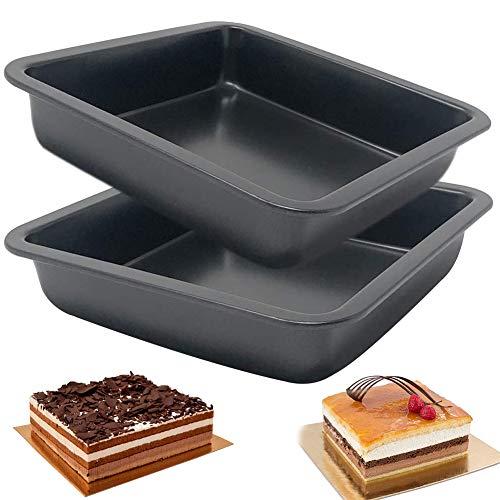 Teglia Quadrata Forno Stampo, BETOY Set di 2 Teglie da Forno con Rivestimento Antiaderente, Rostiera Rettangolare in Acciaio al Carbonio, Due teglie quadrate