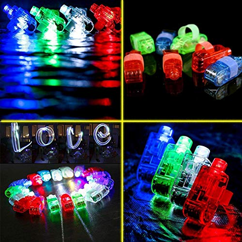 FUN LITTLE TOYS 60PCs LED Light Up Toys Glow in The Dark Party Supplies, Glow Stick Party Pack for Kids Party Favors Including 40 Finger Lights, 12 Flashing Bumpy Rings, 4 Bracelets and More