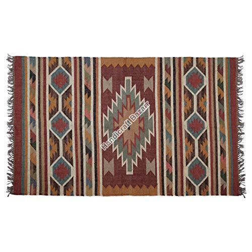 Handicraft Bazarr Alfombra de área grande de Navidad, alfombra de yute Kilim, alfombra de yute decorativa, alfombra hippie Kilim, corredor de yute Killim Runner de 4 x 6 pies, alfombra de yute