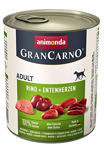 animonda Gran Carno adult Hundefutter, Nassfutter für erwachsene Hunde, Rind + Entenherzen, 6 x 800 g