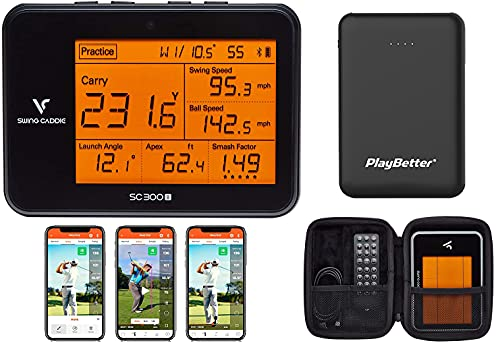 Swing Caddie SC300i by Voice Caddie Launch Monitor Power Bundle | 2021 Release | PlayBetter Portable Charger & Protective Case | Carry/Total Distance, Smash Factor, Swing Speed | Video Swing in App