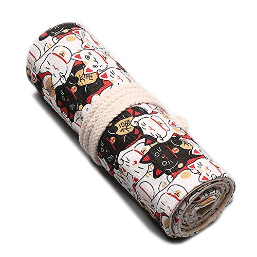 KOGLEE(コグリー)ペンケース かわいい猫柄 鉛筆布製ロールケース入り 収納バッグ 収納ケース 鉛筆ホルダー、鉛筆先端部分に保護可能、巻き型の設計でくるくると巻いてまとめてコンパクトに持ち運びに楽々です、鉛筆が含まない (幸運な猫, 48色)