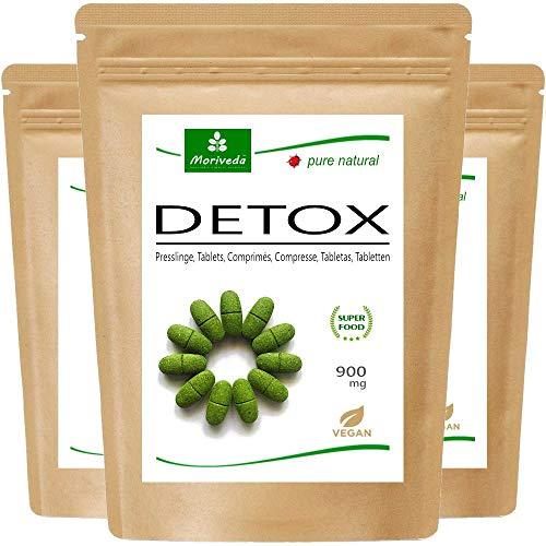 MoriVeda® Moringa Detox Tabletten 900 mg I Moringa, Leinsamen, Gerstengras & Spirulina als natürliche Entschlackungs- & Entgiftungs-Kur I Vegan & Glutenfrei I 3 x 120 Presslinge