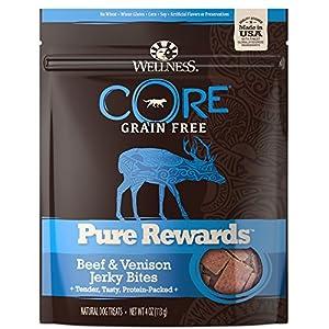 Wellness Core Pure Rewards Grain-Free Beef & Venison Jerky Bites Dog Treats, 4 Ounce bag (88206)
