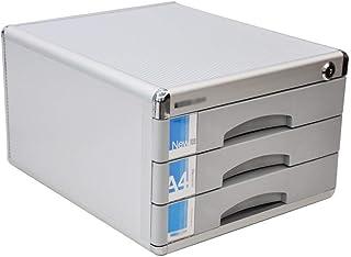 SH-CHEN Desktop Drawer Sorter, Aluminum Alloy 3-Layer Newspaper Racks Drawer Lockable Desktop Drawer Organizer 30 36 20.5cm (Colour-Grey) File Cabinets