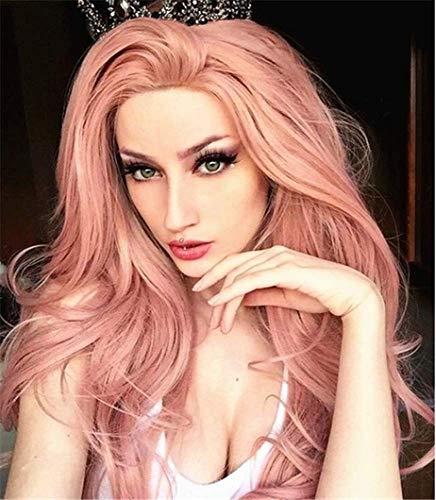 Pelucas de encaje frontal sintético ondulado de 61 cm de largo, color rosa melocotón para mujer de Bestung
