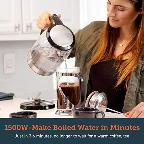 COSORI Electric Kettle(BPA-Free), 1.7 L Glass Water Boiler & Tea Heater with LED Indicator Light,Auto Shut-Off & Boil-Dry Protection,100% Stainless Steel Inner Lid & Bottom, 2 Year Warranty