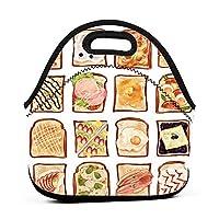 Food Illustration 保温再利用可能おポータブル弁当箱ランチトートバッグ食事袋子供大人ユニセックス