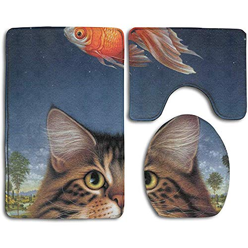 GABRI Wildlife Art Katzenfutter Heute Goldfisch Katatonischer Sonnenuntergang 3-teiliger Rutschfester Toilettensitz U-förmiger Bezug Bademattendeckel