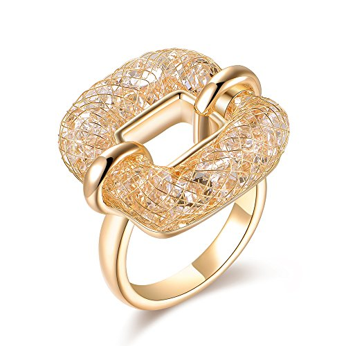 Mytys Mesh Net Crystal Statement Ring for Women Costume Jewelry Gold/Silver (Gold, 10)