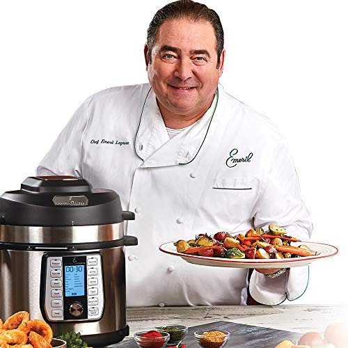 Emeril Everyday 6 QT Pressure Air Fryer, 5 Pc Accessory Pack, Silver