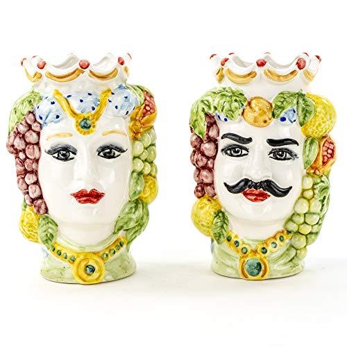 Teste di Moro H cm 14 in Ceramica, Coppia Teste di Moro di Caltagirone Fatte a Mano