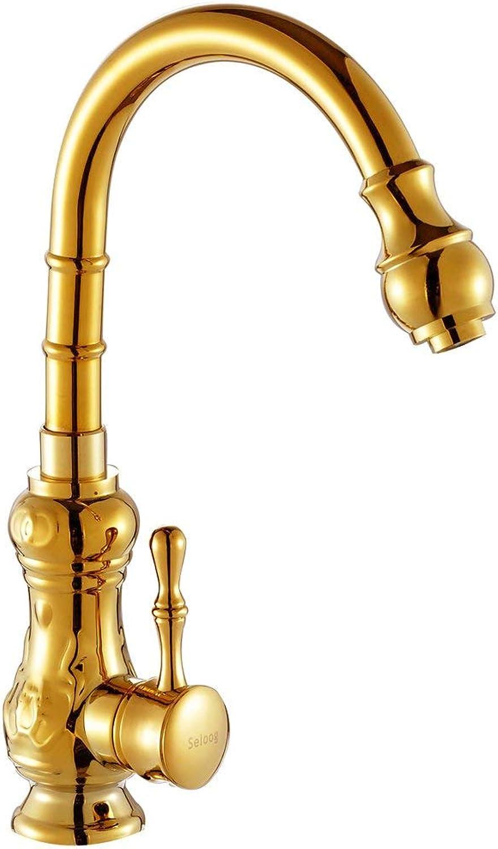YHEGV Wasserhahn Gold Küchenarmaturen Kupfer Caipen führenden Einlochmontage heien und kalten Wasserhahn