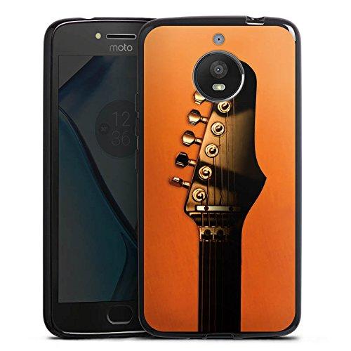 DeinDesign Silikon Hülle kompatibel mit Motorola Moto E4 Plus Case schwarz Handyhülle Musik orange Gitarre