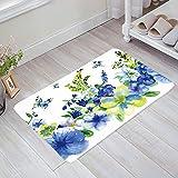 Felpudo decorativo de flores de acuarela antideslizante lavable en el barco, bienvenida, entrada, baño, decoración del hogar, alfombra absorbente antideslizante