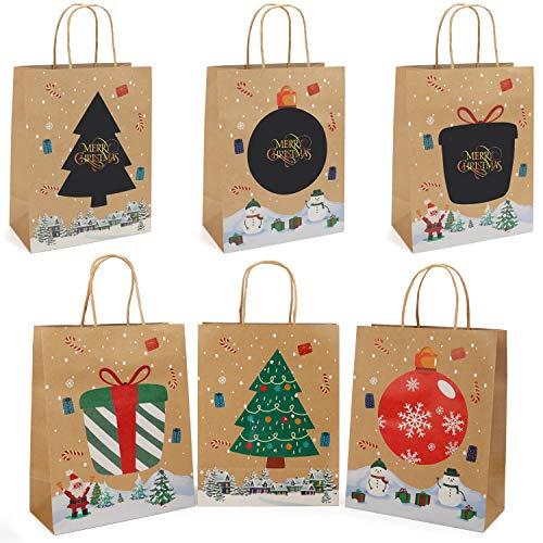 Weihnachten Geschenktüten (12er Pack) (21 x 27 x 11cm) Braune Kraftpapier Tüten mit Henkel Geschenktaschen Weihnachten mit Regenbogen Rubbelpapier Aufklebern für Persönliche Botschaften, Papiertüten