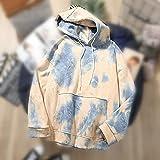 Sudaderas con capucha, corbata, tapa de tinte, tops de la sudadera con capucha, damas impresas con capucha, tops streetwear jerseys (Color : Blue, Size : Large)