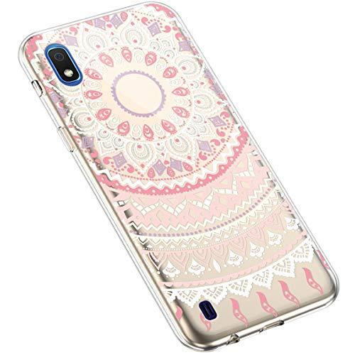 Uposao Kompatibel mit Samsung Galaxy A10 Handyhülle Transparent TPU Silikon Schutzhülle Bunte Gemalt Muster Durchsichtig Case Crystal Clear Handytasche Anti-Kratzer Stoßfest,Mandala Rosa
