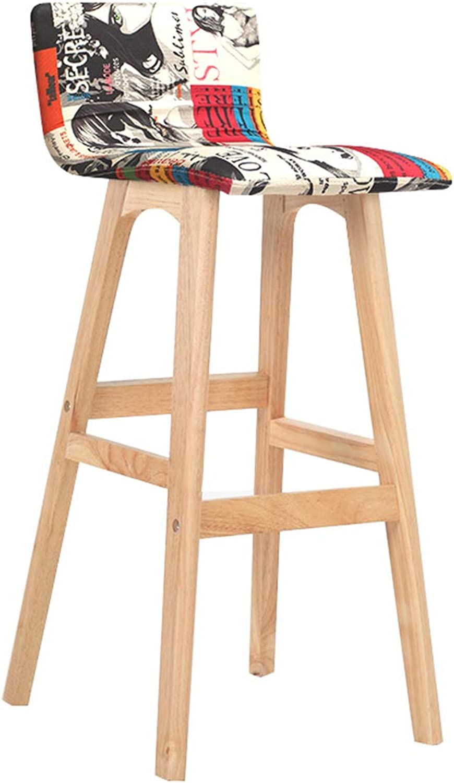 Solid Wood Bar Chair Wooden Bar Stool - Backrest High, Original Wood Frame, Graffiti, Cotton Linen, Front Kitchen Kitchen Living Room
