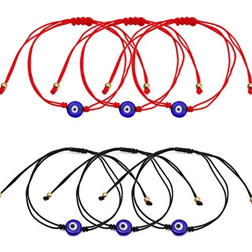 6pcs Pulsera Mal de Ojo Pulsera Clásico Ojo de la Buene Suerte con circonitas Proteccion Joyería de protección Cordón Negro y Rojo