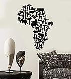 Pegatinas de vinilo para pared mapa de animales del continente africano pegatinas de letras inspiradoras naturales pared del hogar