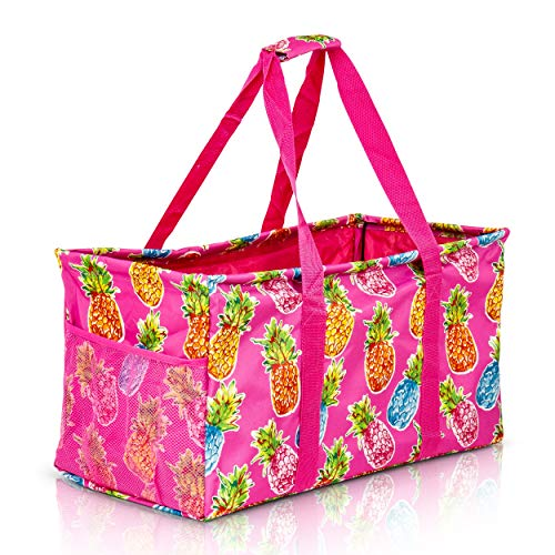 Extra Large Utility Tote Bag - Oversized Collapsible Reusable Wire Frame Rectangular Canvas Basket With Two Exterior Pockets For Beach, Pool, Laundry, Car Trunk, Storage - Pineapple Pink