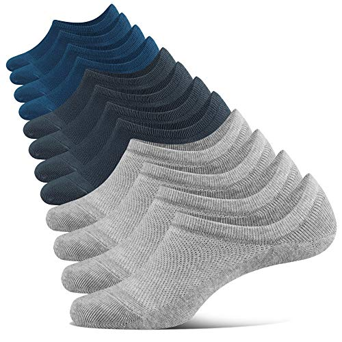 Closemate Sneaker Socken Herren Damen Füßlinge 6 Paar Footies Unsichtbare Kurze No Show Socken(2Blau2Grau2Dunkelgrau, 44-48)