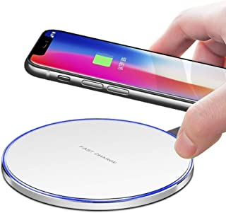 Slick-Prints Round White Universal Qi Enabled Slim 10W Output Wireless Power Desktop Charging Pad with Led Light and Ultra-Thin Qi Receiver Module Chip for Bluboo D2 Pro