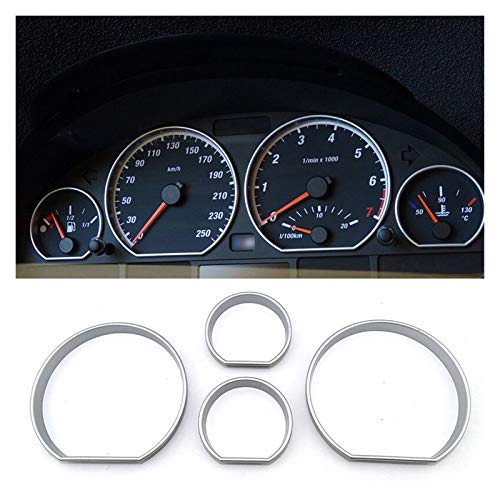 Sun Can 4pcs Car Accessories interior decorative Speed Meter Gauge Cluster Bezel Dashboard dial Dash Ring Fit For BMW E46 M3 3 Series (Color Name : Matt chrome)